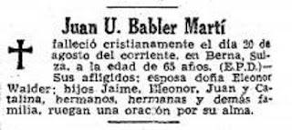 Esquela de Juan U. Bäbler Martí el 23 de agosto de 1957