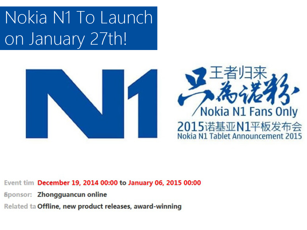 Nokia N1 Set To Launch On January 7th In China