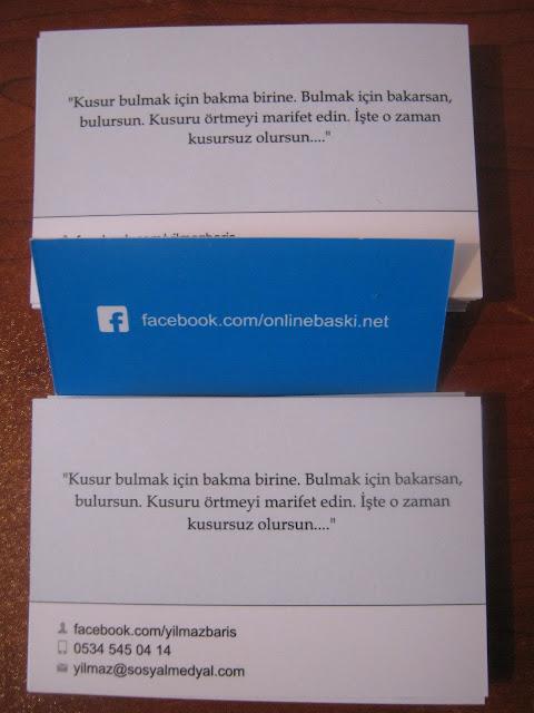 OnlineBaskı.net Facebook Kartvizit