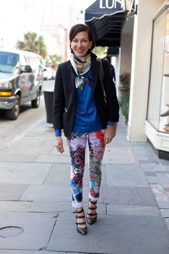 Cynthia Rowley. charleston fashion week, charleston street style, southern street style, black blazers, floral pants, black strap heels, angels point of view, scott whoman