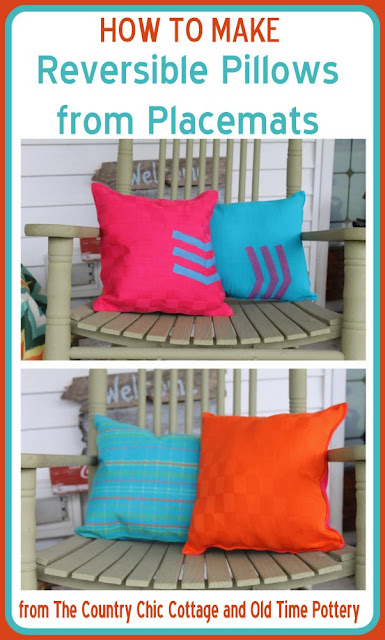 Learn how to make reversible pillows from placemats quickly and easily.  These pillows are so simple anyone can make them!