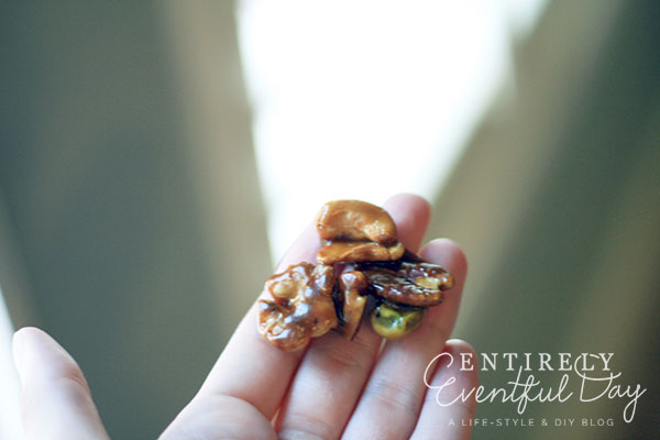 Easy maple candied nuts.