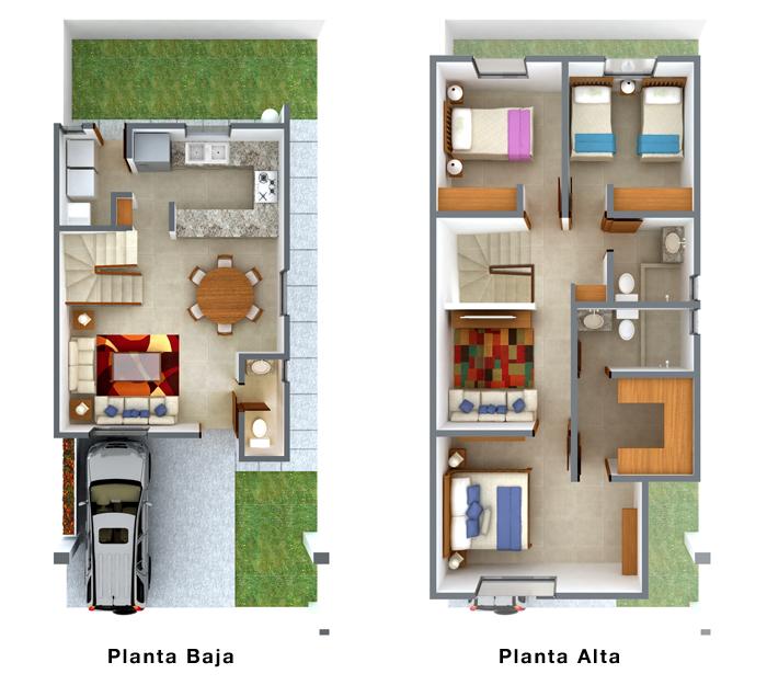 planos de casas 8x16 dos pisos