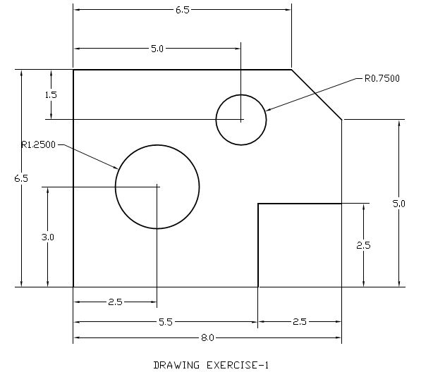 Drawing Lines In Draftsight : Draftsight work exercise