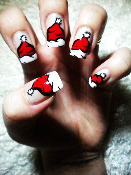 cartoon santa clause christmas nail art
