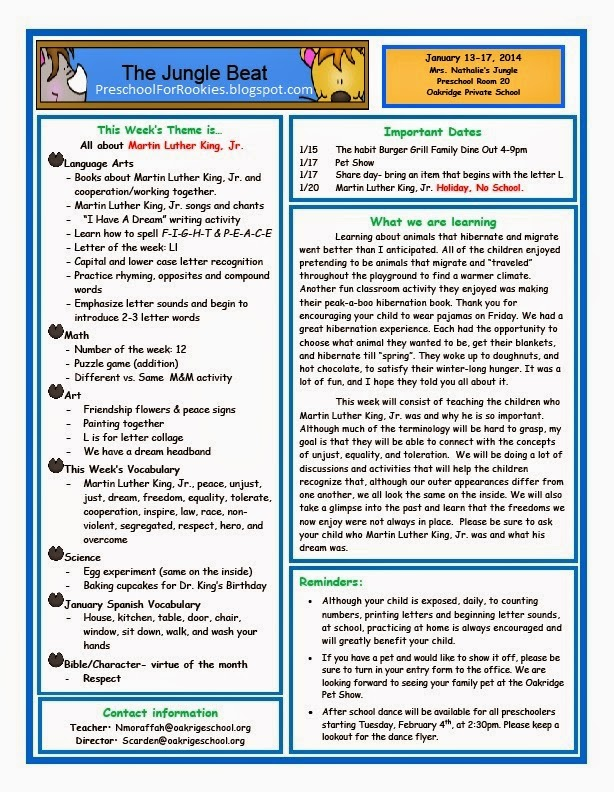 Martin Luther King Jr. Weekly newsletter and objectives