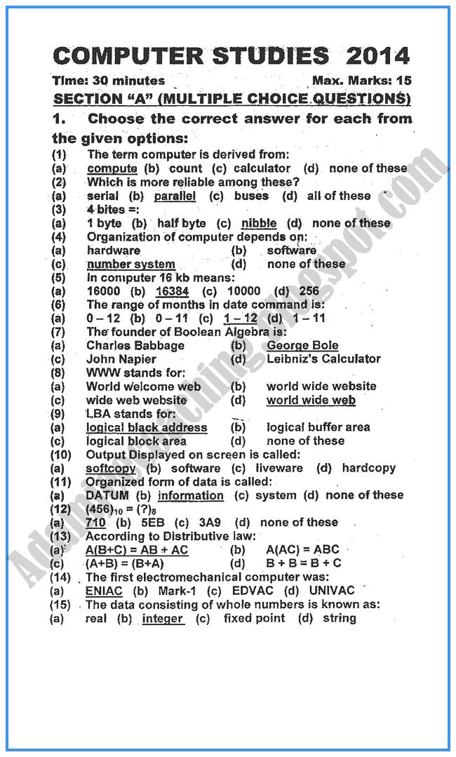 IX Computer Studies Past Year Paper - 2014