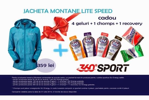 Câteva promoţii cu reduceri de la 360SPORT la brand-urile Montane şi GU Energy. Jachetă Montane Lite Speed