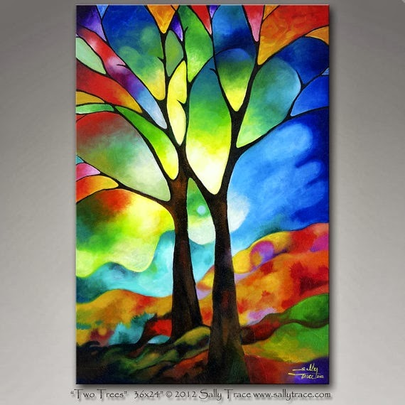 Club de art journal de qu bec inspirations arbres - Creative glass painting ideas ...