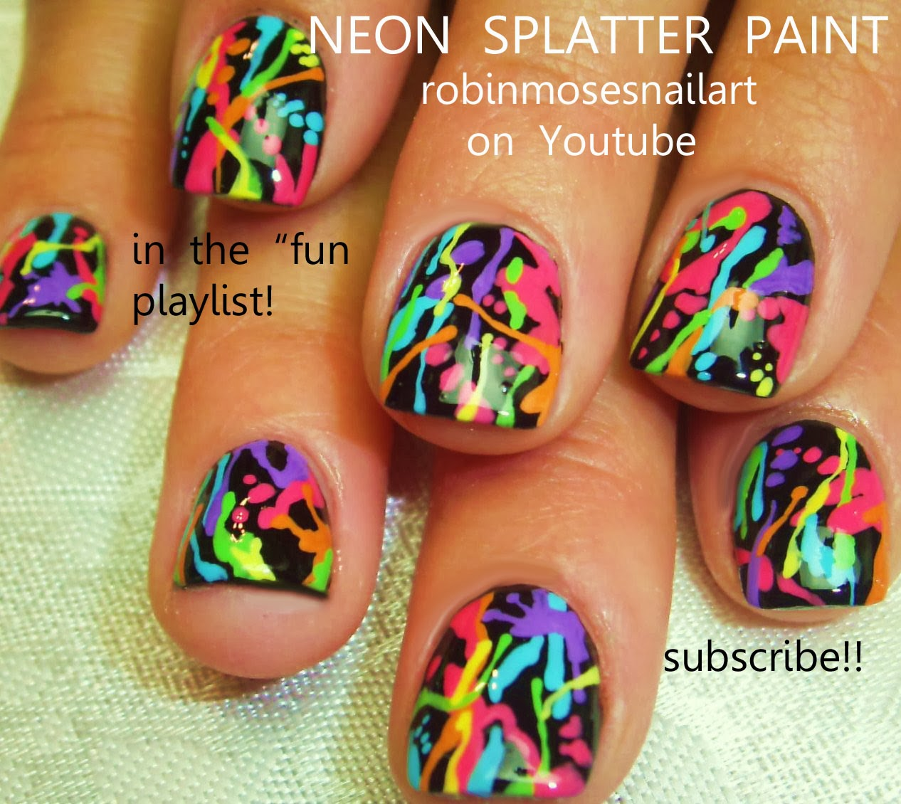 Watercolor Nail Art Rainbow