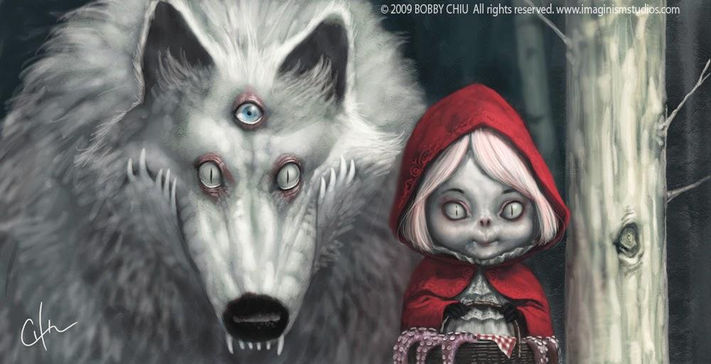 illustration de Bobby Chiu représentant une version décalé du petit chaperon rouge