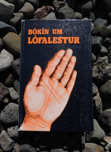 Second-hand palmistry book on Icelandic rocks