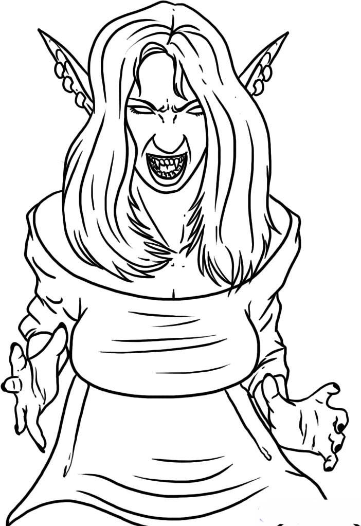 vampire girl coloring pages to printable cartoon