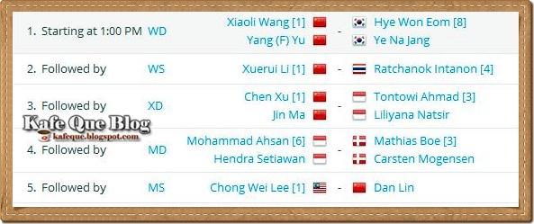 JADUAL PENUH PERLAWANAN AKHIR FINAL BADMINTON DUNIA 2013 CHINA, JADUAL LEE CHONG WEI VS LIN DAN WAKTU MALAYSIA 11 OGOS 2013