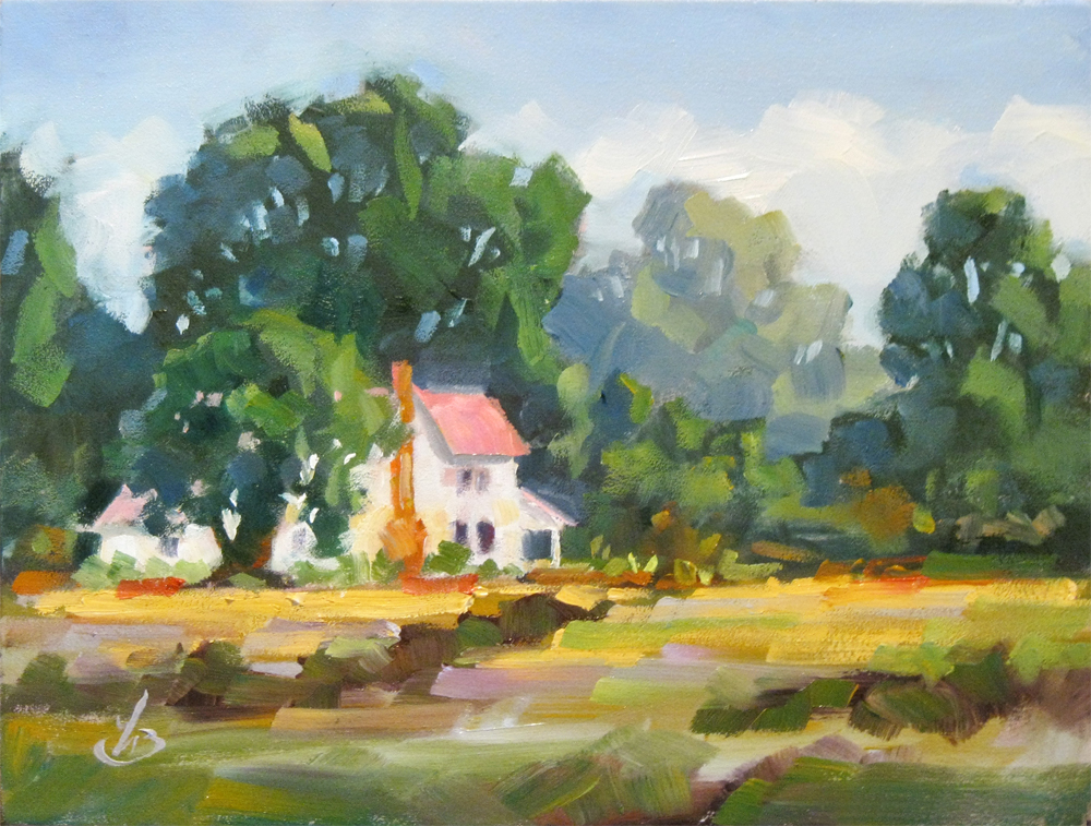 Tom brown fine art secluded country home 6x8 inch for Oil paintings of houses