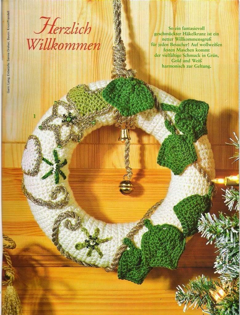 Rosca de navidad para decorar la puerta al crochet