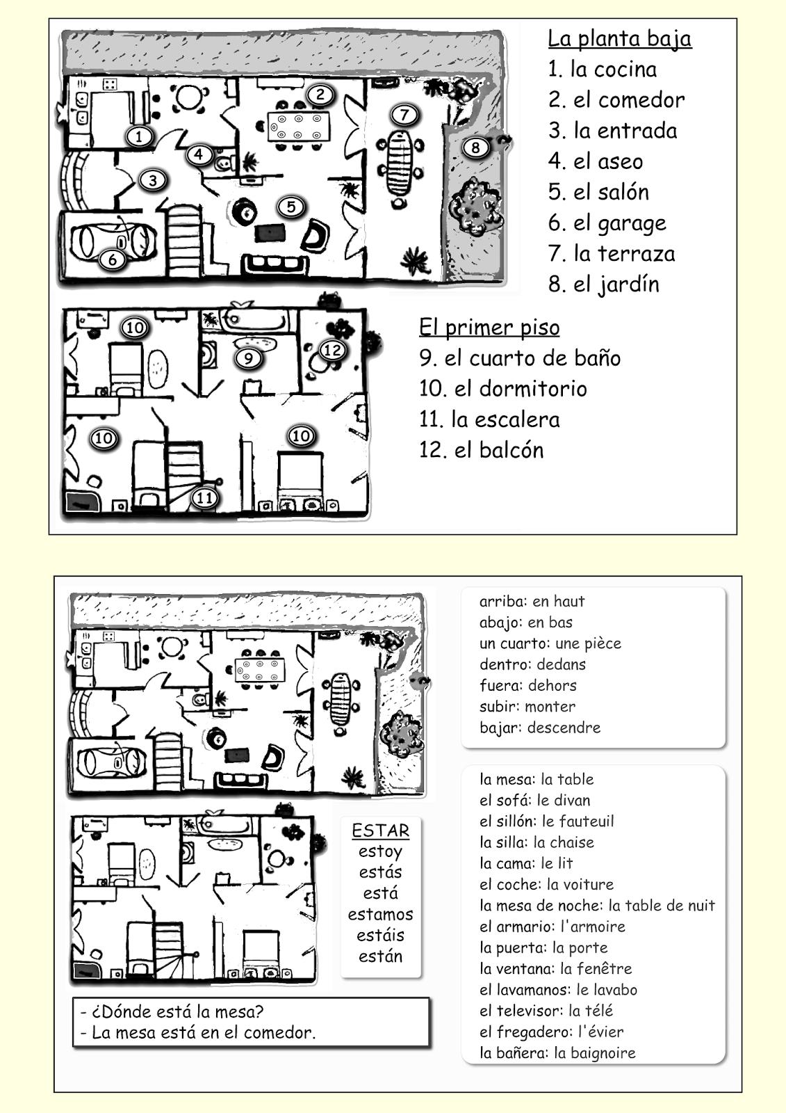 Me encanta escribir en espa ol la casa vocabulario y - Mi casa en ingles ...