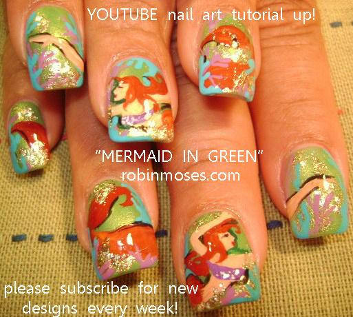 June Bride Wedding Daisy Nail Art Mermaid Nail Art Design Mermaid