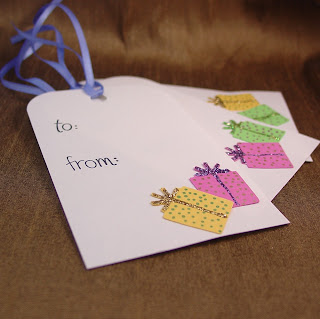 Handcrafted bright color present gift tags by Vicky of Shore Debris