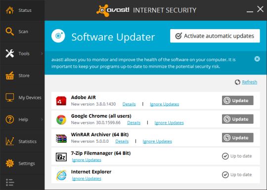 Avast Internet Security 2014 - Software Updater