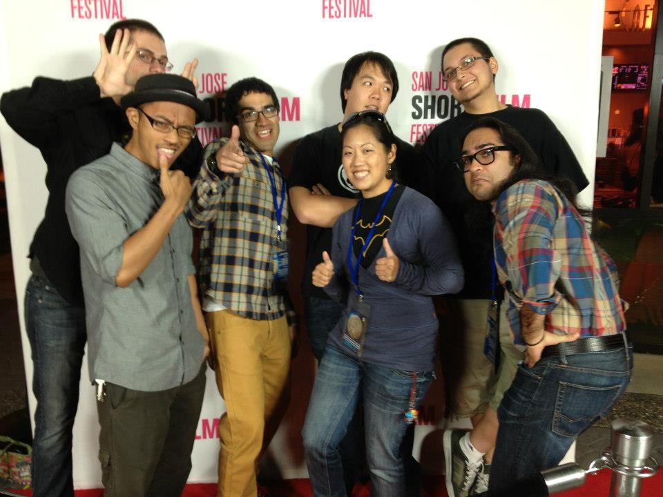 Tule Lake team Michelle Ikemoto, Jason Wong, Izzy Hoover, and Jaydeep Hasrajani (right quad) on the 2012 San Jose Short Film Fest red carpet along with ...