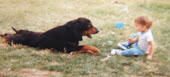 Our first beloved dog, Rocky, watching over baby Mark in 1988...RIP Rocky 1997