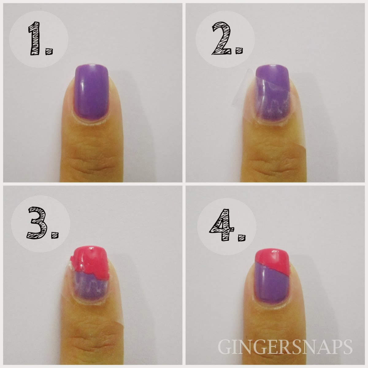 Diy easy nail art for beginners using scotch tape gingersnaps - Easy nail design ideas to do at home ...