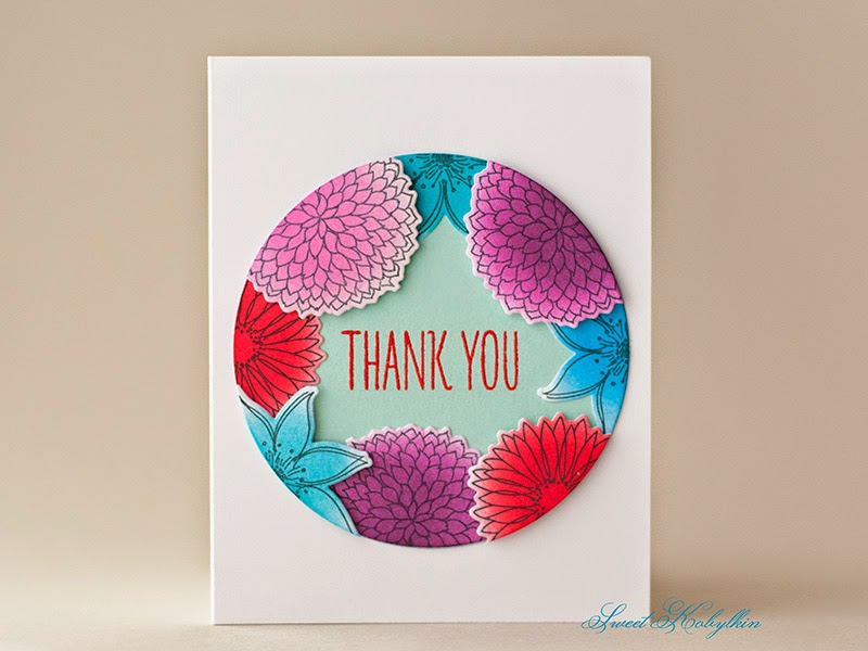 Thank You Card with Freestyle Florals from Mama Elephant by Sweet Kobylkin