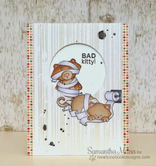Bad Kitty Card with Cat and Bear by Samantha Mann | Naughty Newton Stamp set by Newton's Nook Designs