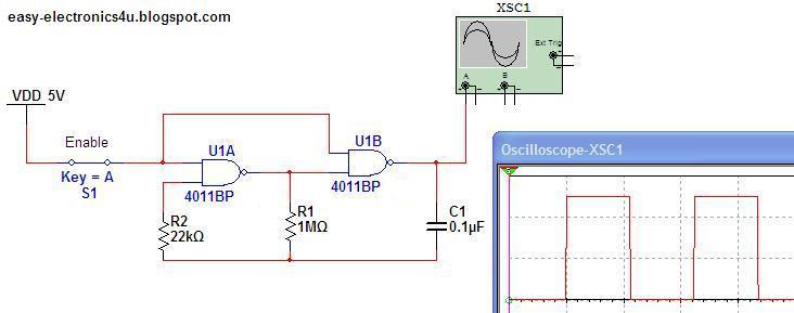 Simple rectangular oscillator using cd4011 nand gates for Circuit nand