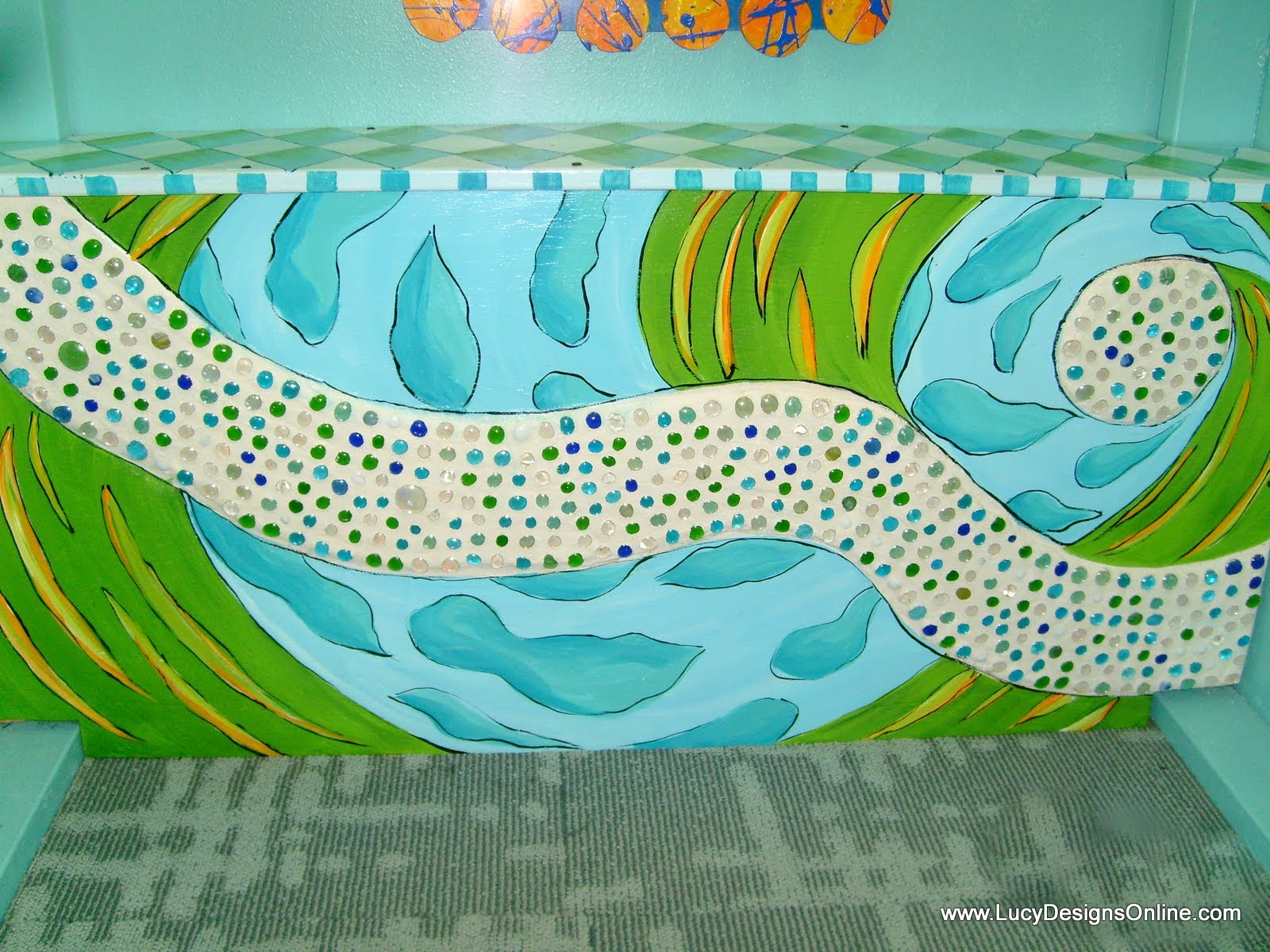 hand painted whimsical funky bench