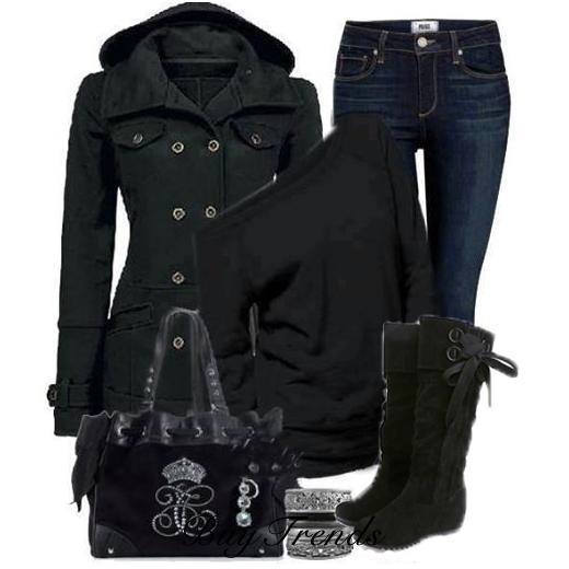 Black trench coat, jeans, black sweater, handbag and warm long neck boots for fall
