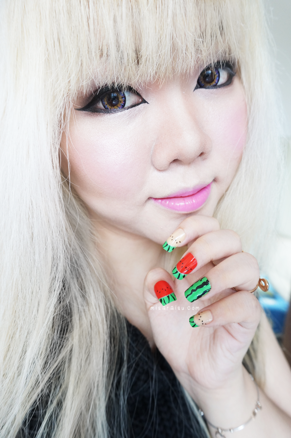 kawaii blonde nail art watermelon