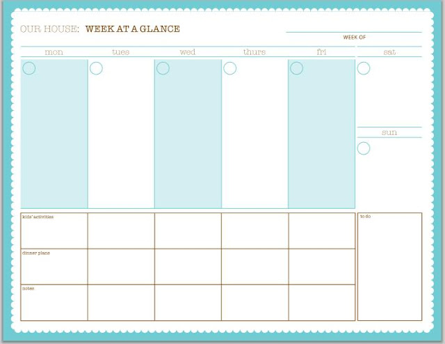 7 Day Weekly Planner Template Cute | Calendar Template 2016