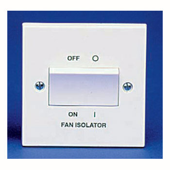 The BG 915B Square Edge - Fan Isolator Switch 6A Triple Pole White Plastic