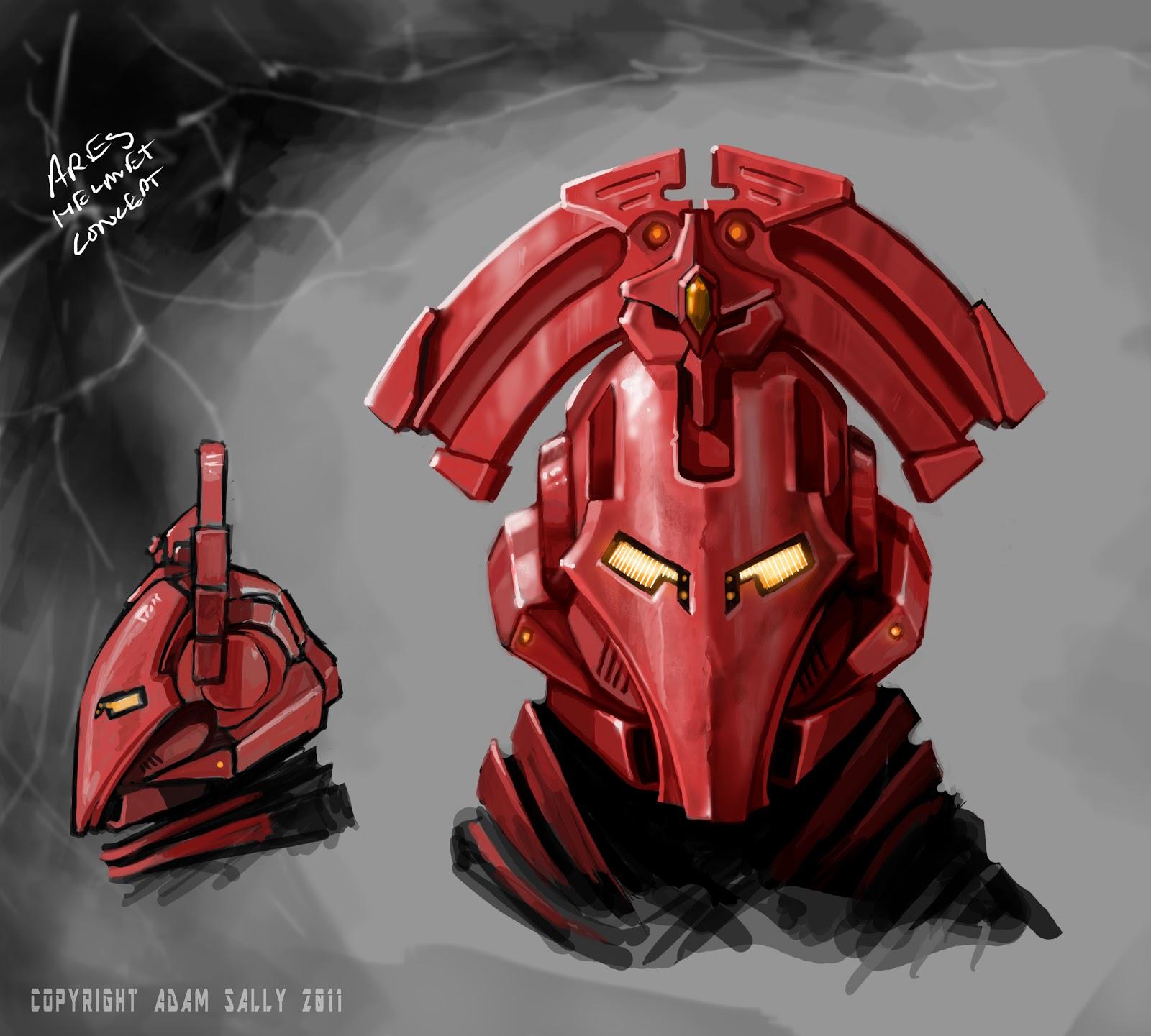 the art of adam ares helmet concept