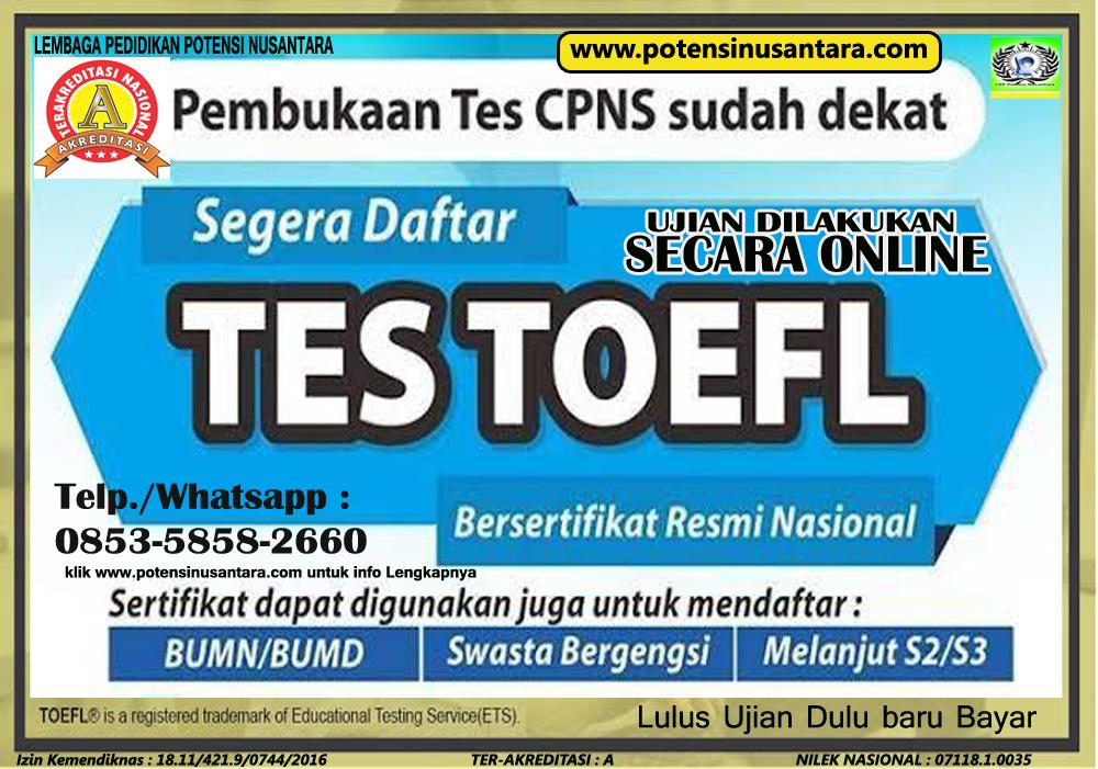 TES TOEFL ONLINE BERSERTIFIKAT RESMI