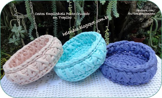 Eu tamb m crocheto cestos empilh veis ponto cruzado em - Cesto para mantas ...