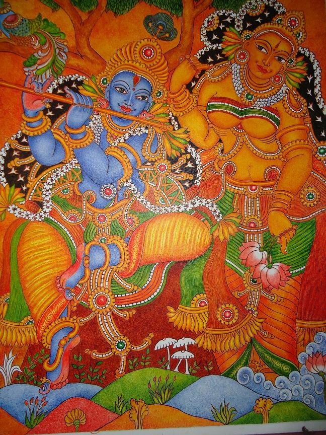 My talent mural painting krishna radha for Mural radha krishna