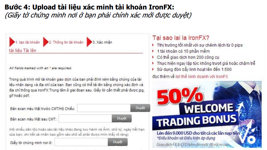 Upload tài liệu xác minh tài khoản IronFX