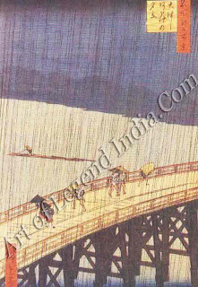 Utagawa Hiroshige (1797-1858) Ohashi Bridge in the Rain, Van Gogh made a copy of this wood-cut, which was one of the many Japanese prints he collected. It shows the bright colour and simplicity of design which typified Japanese art, and appealed so strongly to Van Gogh and his contemporaries.