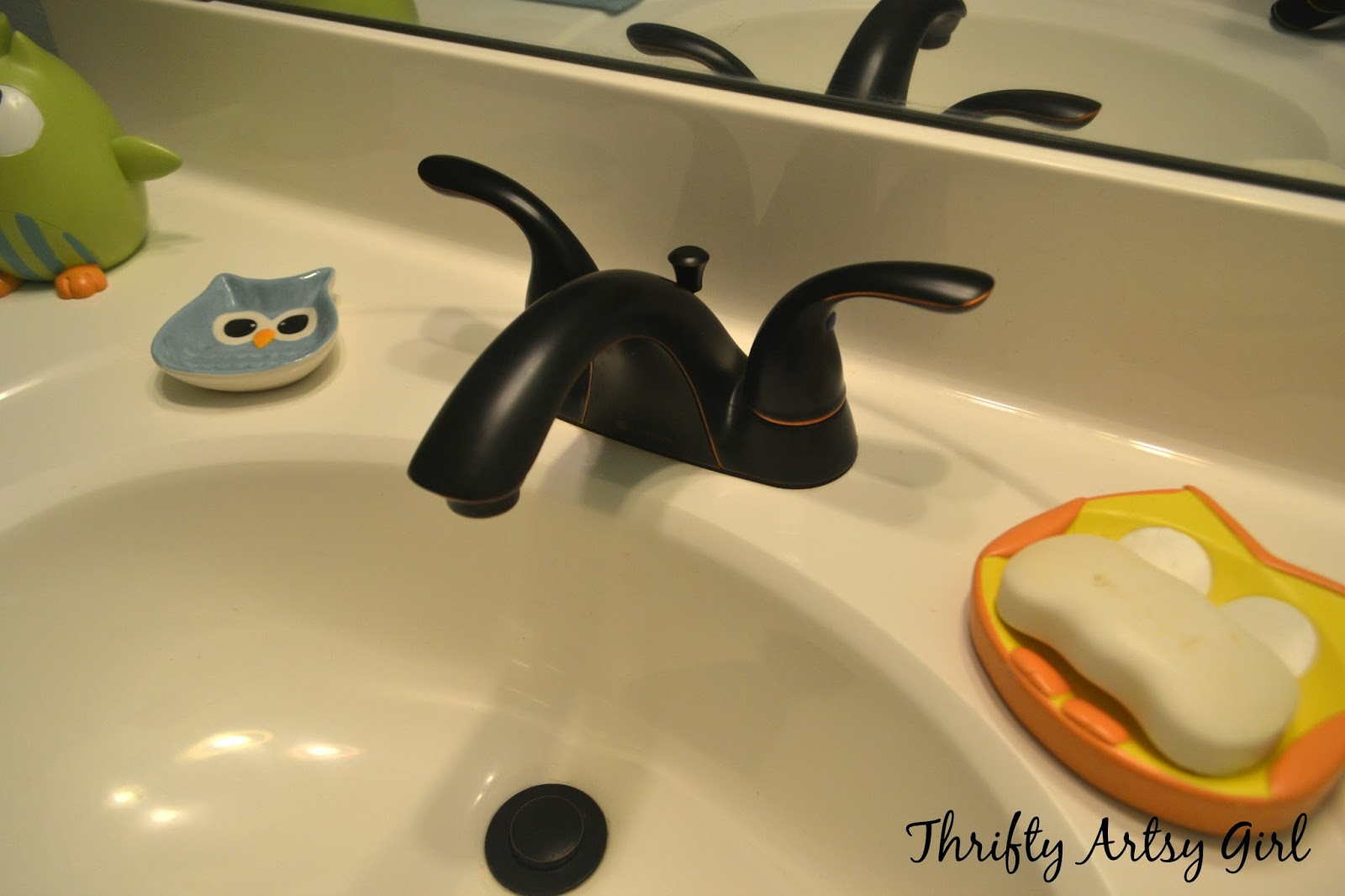 Thrifty Artsy Girl: Builders Grade Teal Bathroom Vanity and Faucet ...