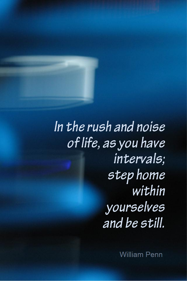 visual quote - image quotation for MEDITATION - In the rush and noise of life, as you have intervals; step home within yourselves and be still. - William Penn