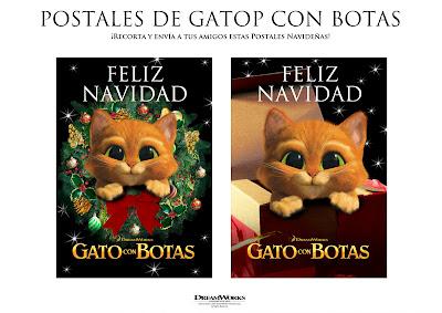 postalesA Postales Navideñas Gato con Botas