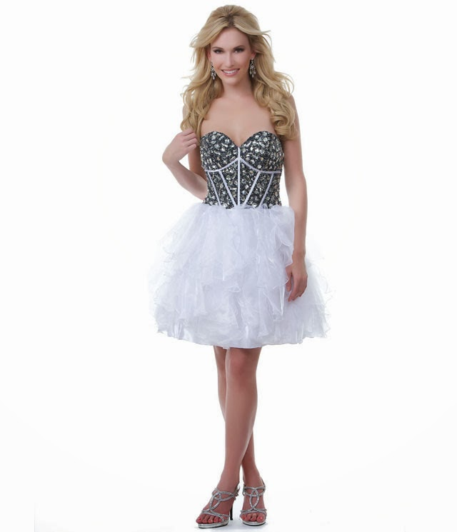 Short Strapless Sweetheart Black And White Wedding Dress