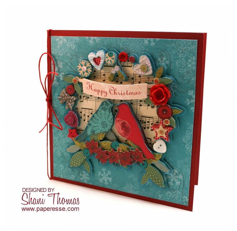 Paperesse: Bird wreath Christmas card in 3D decoupage