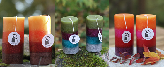 Läpivärjätyt raidalliset kynttilät
