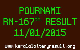 POURNAMI Lottery RN-167 Result 11-01-2015