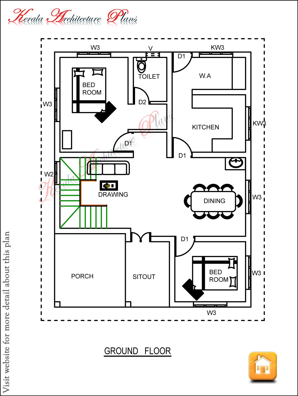Three bedroom house plan architecture kerala Three bedroom floor plan house design