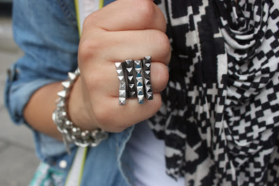 Stacked Rings and Patterned Scarf